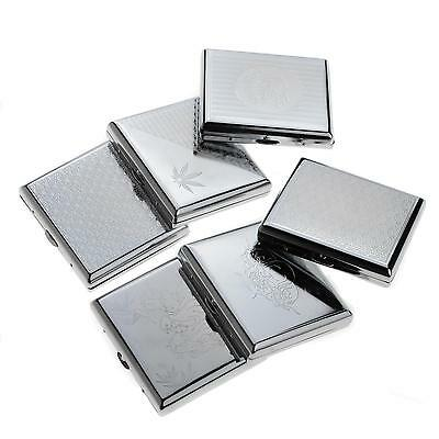 NEW Etched Metal Cigarette Case Box Holder Holds 20 Cigarettes Silver BDRG