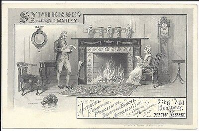 c1880 Engraved Trade Card, Sypher & Co., Pioneer NYC Antiques Dealer