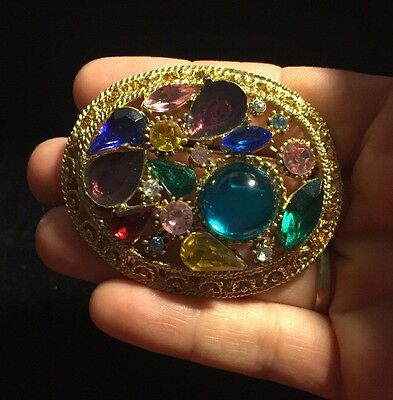 Vintage Signed Sphinx Gold Tone & Multi-Color Rhinestone Cabochon Brooch / Pin