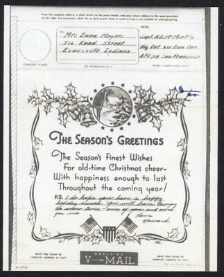 US 1944 Christmas Card V-Mail, HQ Det, XIII Bomber Cmd (Indonesia) APO 719