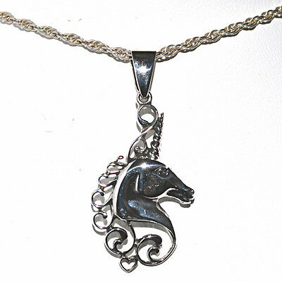 Unicorn Head Pretty Pendant Solid 925 Silver~Pagan~Myth~Magick~Fairy~Jewellery