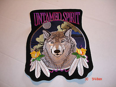 """Wolf With Feathers And Rose """"untamed Spirit"""" Large Patch, 8.5"""" Wide X 10.5"""" Tall"""