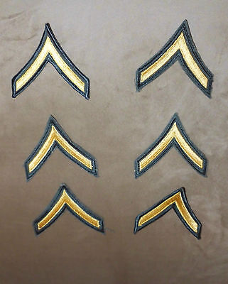 VTG Lot of 6 U.S. Army Private Green Gold Single Chevron Stripe Patches