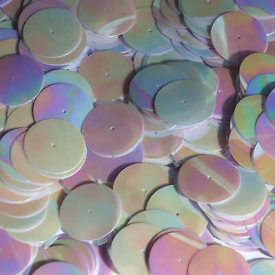20mm Sequins Center Hole Orchid Pink Opaque Iris Rainbow Iridescent Made in USA
