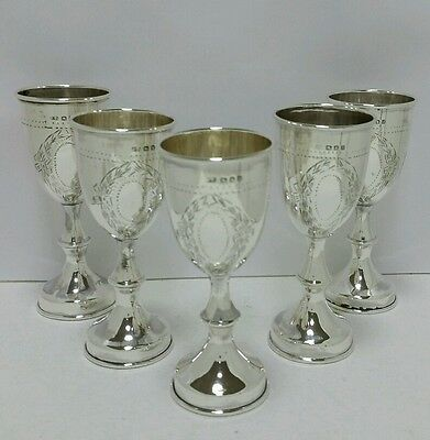 Antique Judaica Solid Silver  925 Set Of 5 Liquer Kiddish Cups London