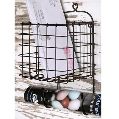 Metal Wire Basket Wall Mail Holder Organizer with Hooks