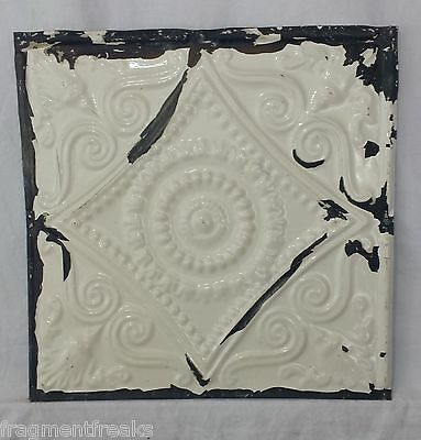 "12"" x 12.5"" Antique Tin Ceiling Tile *SEE OUR SALVAGE VIDEOS* Vintage White JR16"