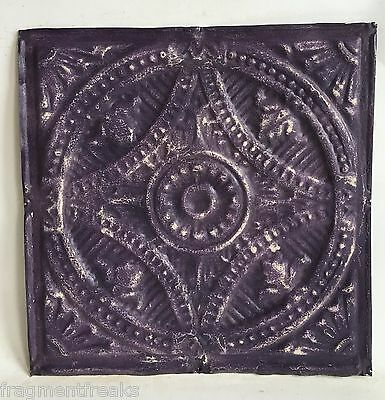 """12"""" x 12"""" Antique Tin Ceiling Tile Purple C81a *SEE OUR SALVAGE VIDEOS"""