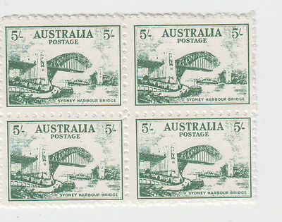 Stamps Australia Sydney Harbour Bridge 5/- green 1982 Cinderella block of 4