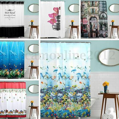 7 Tipos Cortina De Ducha Baño Ganchos Bathroom Bath Shower Curtain Impermeable