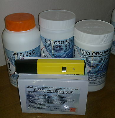 Flocc. Past. 25g+ 1kg Cloro 56% +1kg PH Plus +1kg Tricloro +PH Test Elettronico