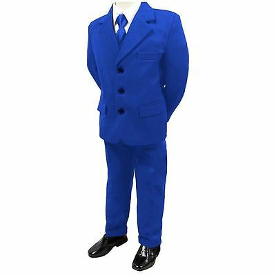 Boys Kids 5 Piece Formal Gorgeous Collection Suit Electric Blue  1Years -16Years