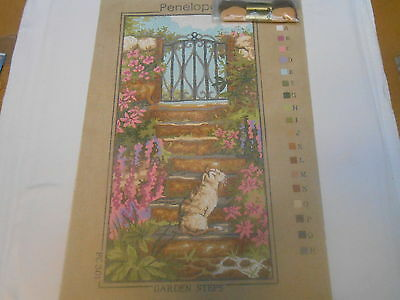 """Penelope  """"Garden Steps"""" Printed Tapestry Canvas - includes 2 free wools"""