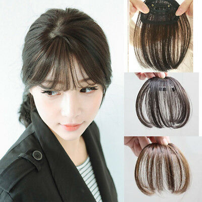 Clip in Front Closure Real Remy Human Hair Extensions Fringe/Bangs Black Brown