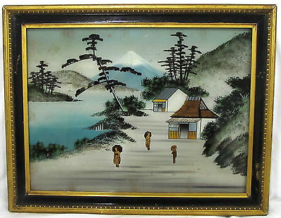 Vintage Antique Reverse Painted Glass Painting Of Mt Fuji Japan Rippled Glass