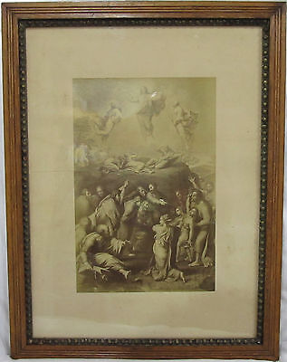 Antique Photo Angels In Eastlake Victorian Chestnut ? Frame Very Rippled  Glass