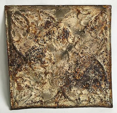 """12"""" x 12"""" Antique 1890's Tin Ceiling Tile Ivory 109A *SEE OUR SALVAGE VIDEOS"""