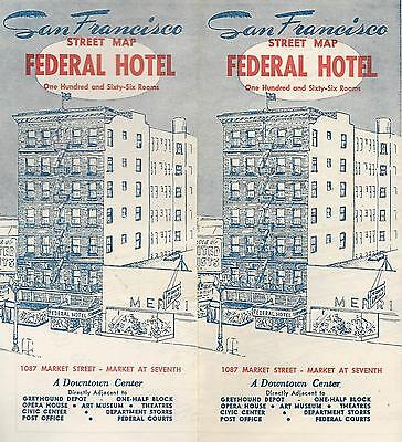 Federal Hotel San Francisco California Vintage Travel Brochure Street Map