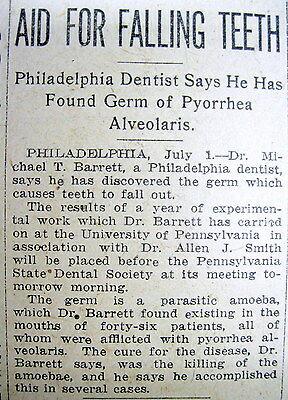 1914 newspaper DENTIST announces CURE for Dental PERIODONTAL DISEASE Amoeba caus
