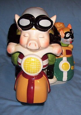 "12"" long x 10"" high Ceramic Pig on Motorcycle with Dog in Sidecar Cookie Jar"