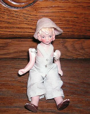 Old Miniature Doll for Doll House - Hand Painted Face/Jointed