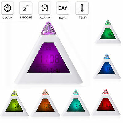 7 LED Color Changing Pyramid Digital LCD Snooze Alarm Clock Triangle Thermometer