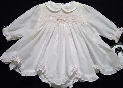Sarah Louise 3M Smocked  Ls White Dress W/diaper Cover~Nwt's~Easter