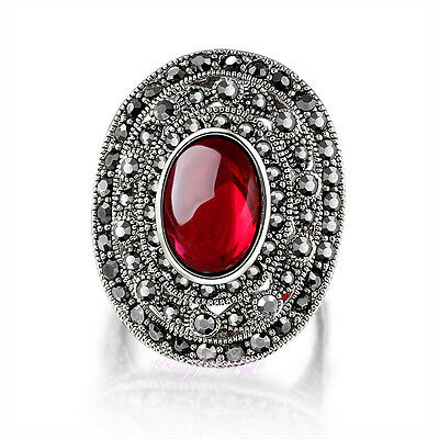 vintage black crystal Marcasite ring Silver tone red stone jewelry Gift R1024