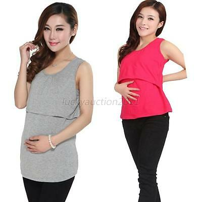 Hot Women Solid Breastfeeding Maternity Tops Casual Nursing Modal Vest 10 Colors