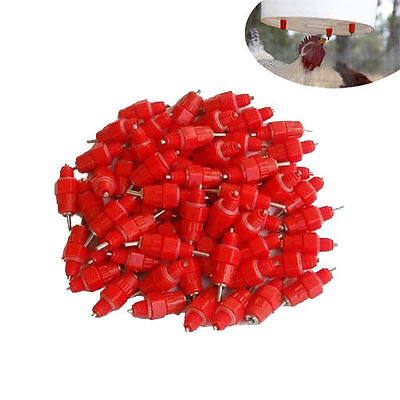 50pcs Chicken Water Feeder Cups Poultry Nipple Drinker Waterer Duck Hen Screw