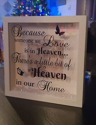 Vinyl Sticker for DIY Memory Box Frame - Because someone we love is in heaven