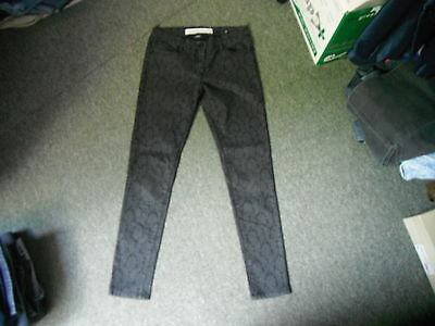 """Next Skinny Patterned Jeans Size 10R Leg 30"""" Black Faded Ladies Jeans"""