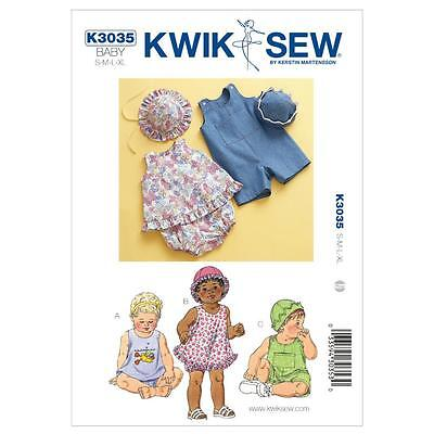 Kwik Sew Sewing Pattern Baby Sundress Bloomers Shortalls & Hat Size S - Xl K3035