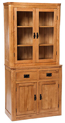 Solid Oak Small Dresser Display Cabinet | Narrow Wooden Storage Cupboard