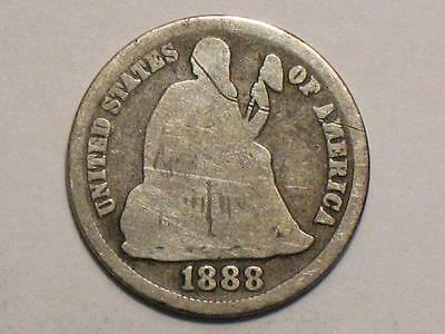 1888-S Seated Liberty Dime - 90% Silver United States Coin