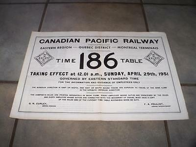 1951 Canadian Pacific Railway Eastern Region Quebec Employee Timetable 186