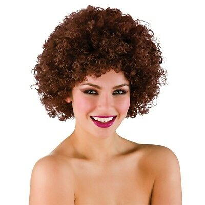 Funky Brown Afro Wig Mens Ladies Clowns Fancy Dress Accessory