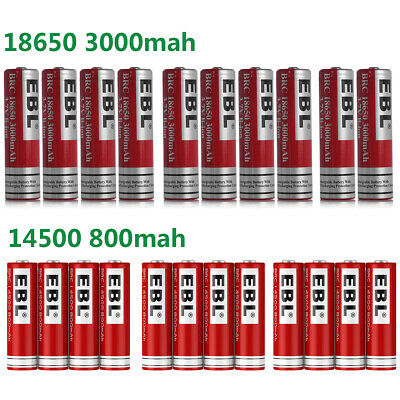 3.7V 14500 18650 Rechargeable Li-ion Recharge Battery For Flashlight Torch +case