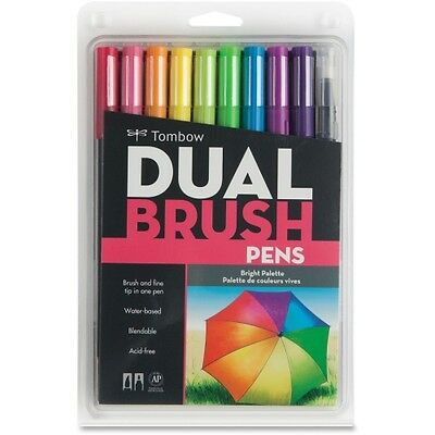 Tombow Dual Brush Pen 10-pc Set - Bright Colours SEE NEW