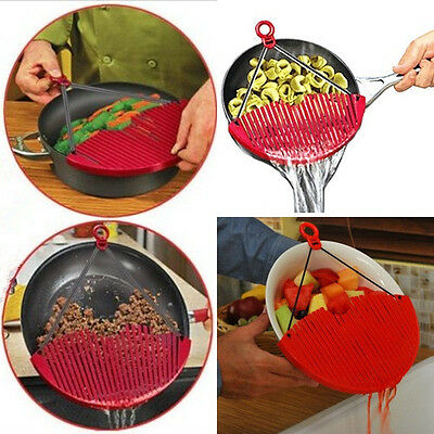 Lock On Pot Pan Top Drainers Expandable Strainer Sieve Colander Water Filter