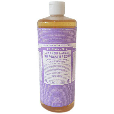 Dr Bronner's Organic Lavender Castile Liquid Soap Choice of Sizes One Supplied