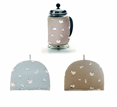 Pecking Order 100% Cotton Tea or Cafatiere Cosy in Stone or Blue Colours