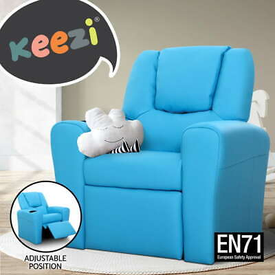 Luxury Kids Recliner Sofa Children Lounge Chair Padded PU Leather Arms Blue