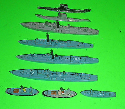 JOB LOT OF 9 Triang Minic Ships and subs 1:1200 scale waterline model