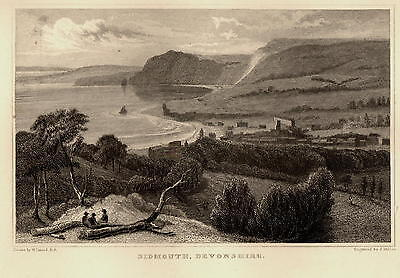 Antique Print STEEL ENGRAVING ~ SIDMOUTH, DEVONSHIRE ~ William Daniell c1860