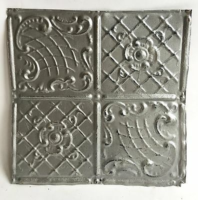 "1890's 12"" x 12 Antique Tin Ceiling Tile Silver 118a Metal Reclaimed Anniversary"