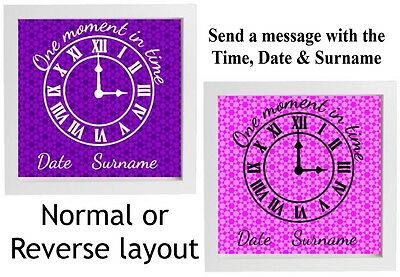 Vinyl Sticker For Box Frame ONE MOMENT IN TIME clock face personalise time/date