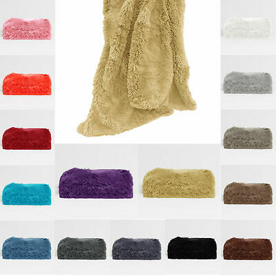 Winter Summer Color Choice - Long Hair Faux Fur Bed Sofa Throw Blanket Rug