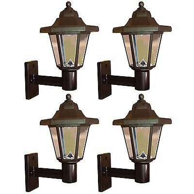 4 x Solar Powered LED Outdoor Garden Fence Wall Lantern Light Lamp New