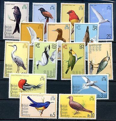 BRITISH INDIAN OCEAN TERRITORY - BIRDS Yvert # 63/77 Complete Set MNH VF